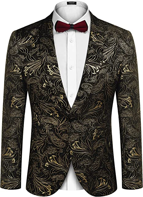 Men Business Cotton Stylish Print Wedding Prom Dress Party Blazer