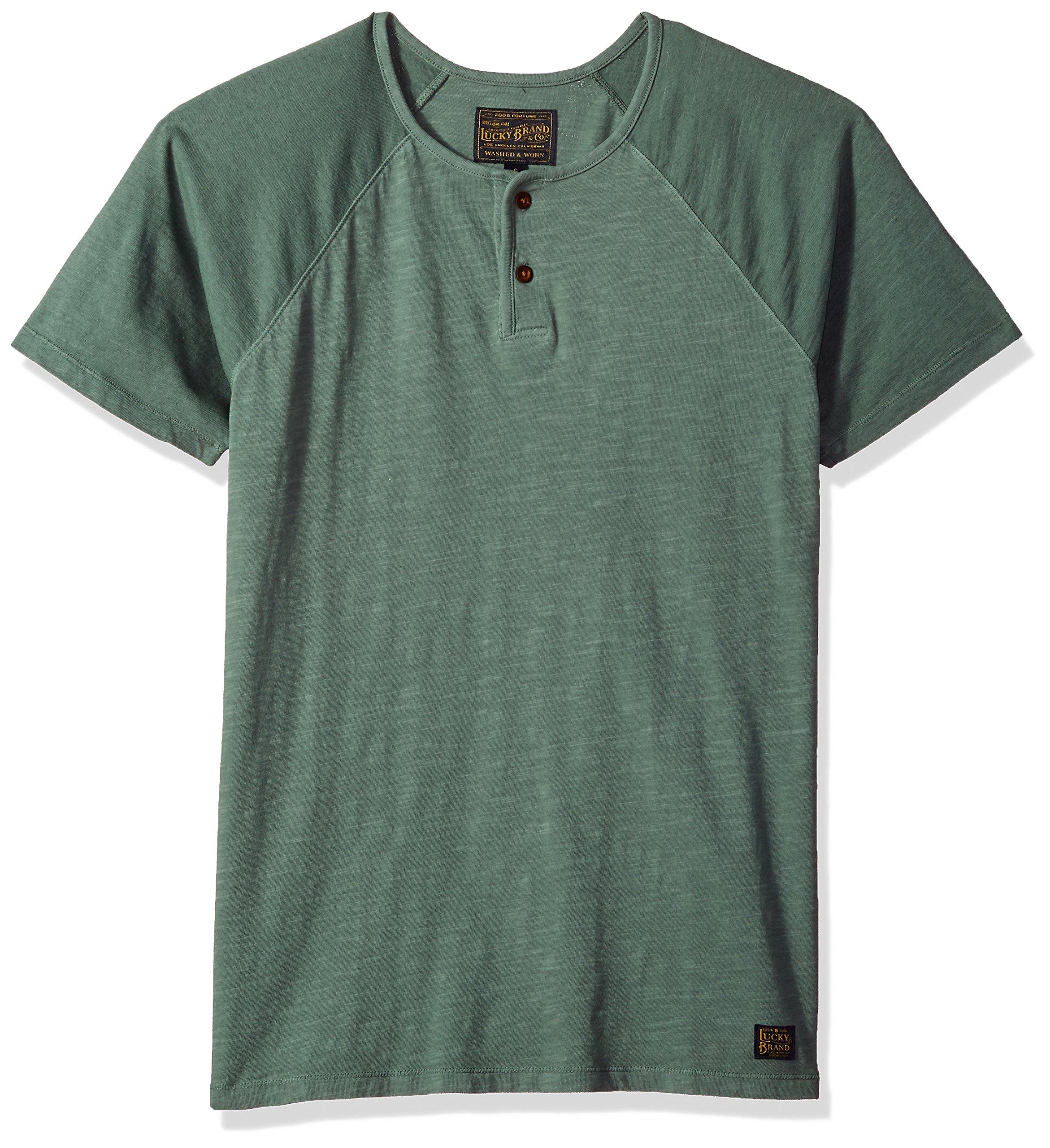 Lucky Brand Men's Colorblock Baseball Henley TEE Shirt, Laurel Wreath, M