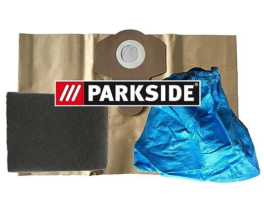 Juego de 3 Parkside filtro: 1 x Filtro húmedo, 1 x Filtro para limpieza en seco, 1 x Bolsas de aspiradora 20L marrón resistente para Parkside Lidl ...