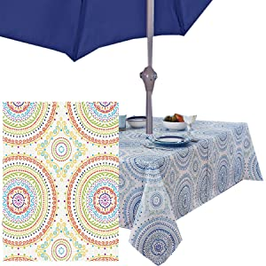 Newbridge Circle Stitch Contemporary Print Indoor/Outdoor Soil Resistant Fabric Tablecloth - 60 X 84 Oblong Zippered Umbrella Hole Patio Tablecloth, Multi