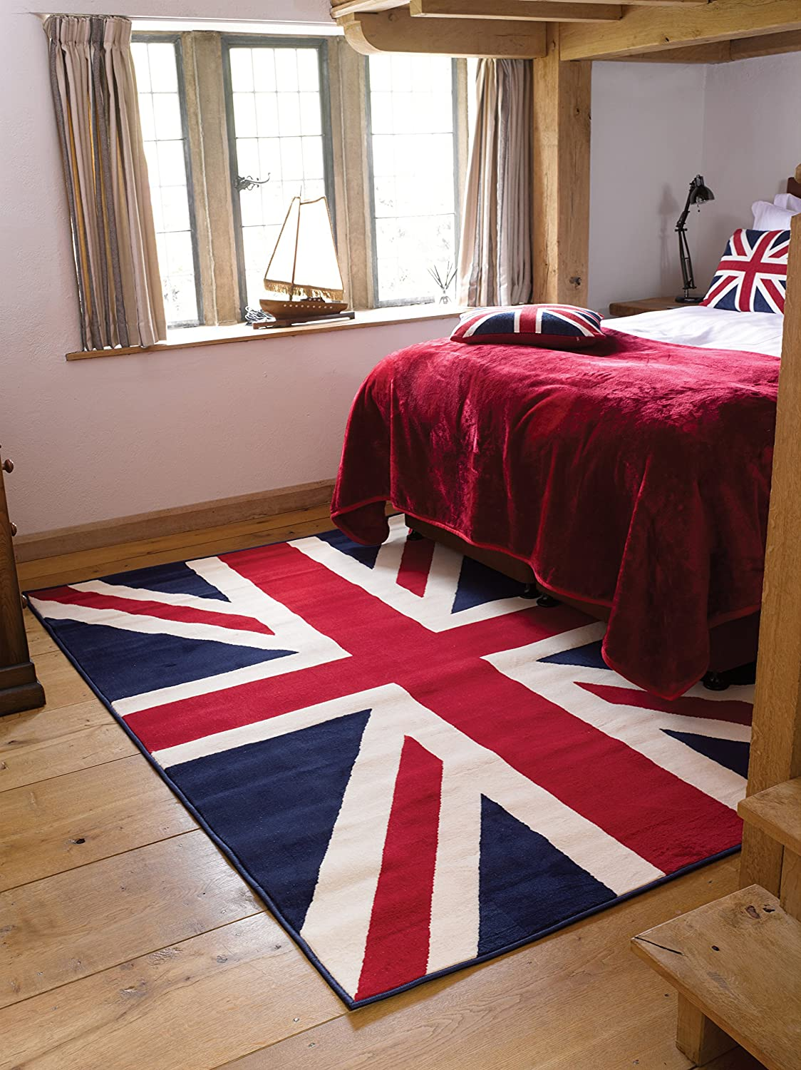 Black And Grey Union Jack Rug Home Decor