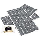 Adsamm® | 150 x Feltrini | 20x20 mm | grigio | quadrati | Piedini mobili in feltro autoadesivo di 3.5 mm di spessore di alta qualità