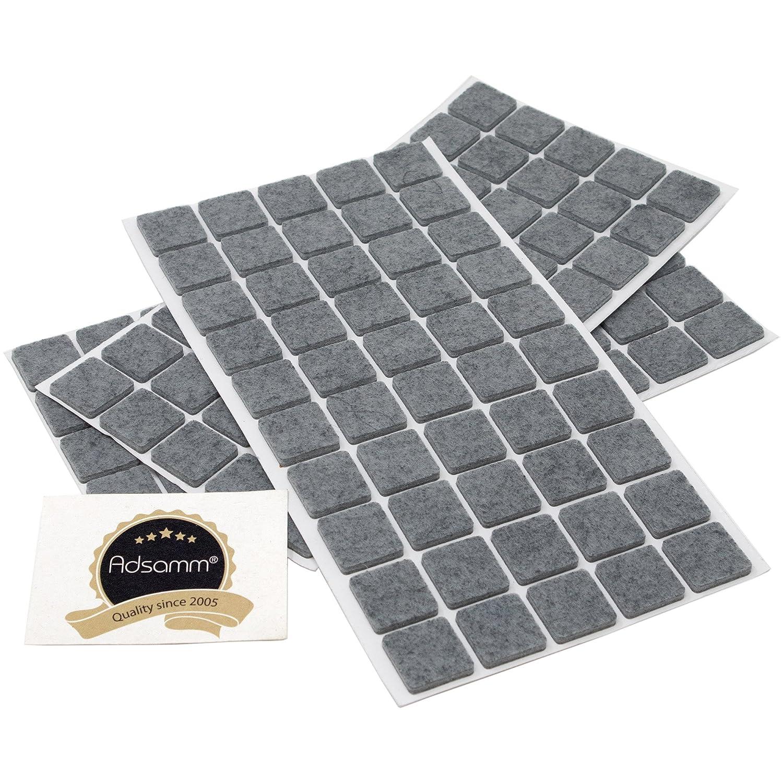 adsamm® | 150 x Feltrini | 20x20 mm | grigio | quadrati | Piedini mobili in feltro autoadesivo di 3.5 mm di spessore di alta qualità da Adsamm®