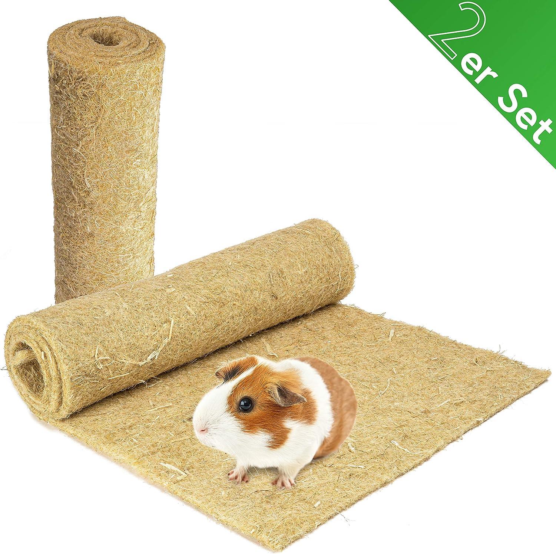 Alfombra para roedores de 100 % cáñamo, 120 x 60 cm, 5 mm de grosor, 2 unidades, alfombra de cáñamo para todos los tipos de animales pequeños