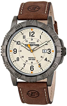 ea16310937ba Amazon.com  Timex Men s T49990 Expedition Rugged Metal Brown Natural  Leather Strap Watch  Timex  Watches
