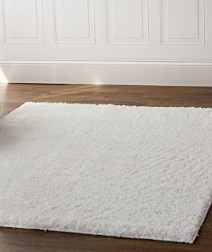 Captivating Super Area Rugs White Shag Rug Soft And Thick Textured Pile, 5 Foot X
