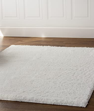 Delightful Super Area Rugs, Cozy Collection, Pure White Shag Rug, 5 Feet By