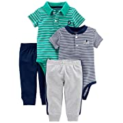 Simple Joys by Carter's Baby Boys' 4-Piece Bodysuit and Pant Set, Turquoise Polo/Navy Henley, 12 Months
