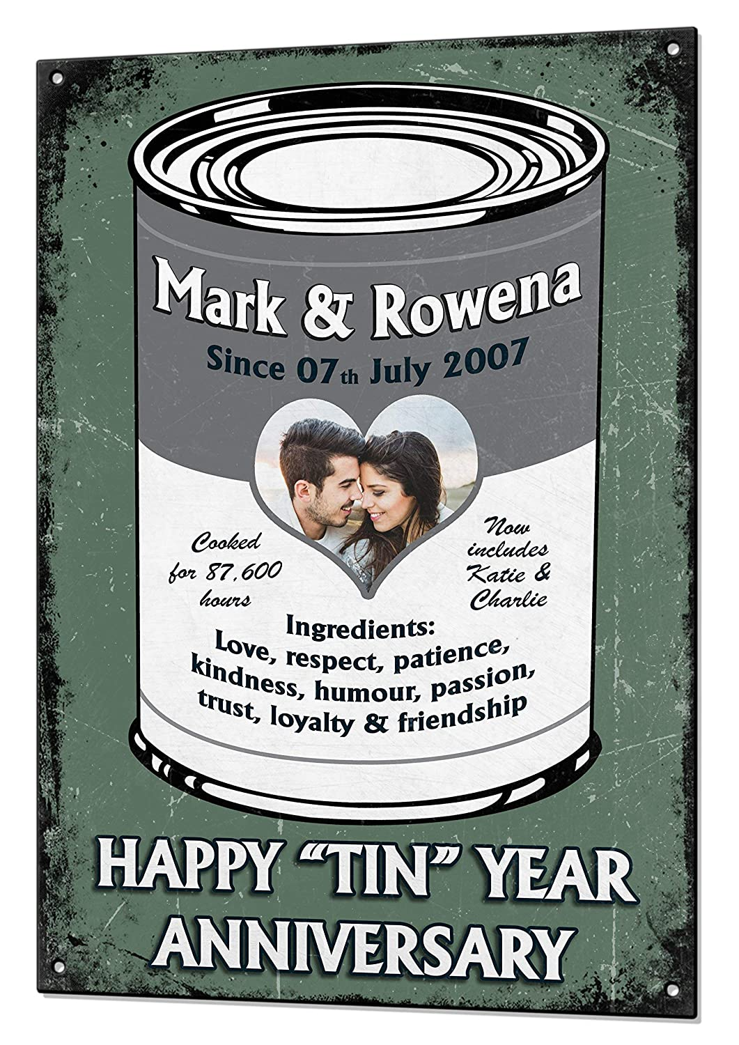 10 Year Tin Wedding Anniversary Gift Custom Vintage Metal Matching Fridge Magnet Keepsake Sign Retro Plaque Fully Personalised Photo All Text Amazon Co Uk Handmade