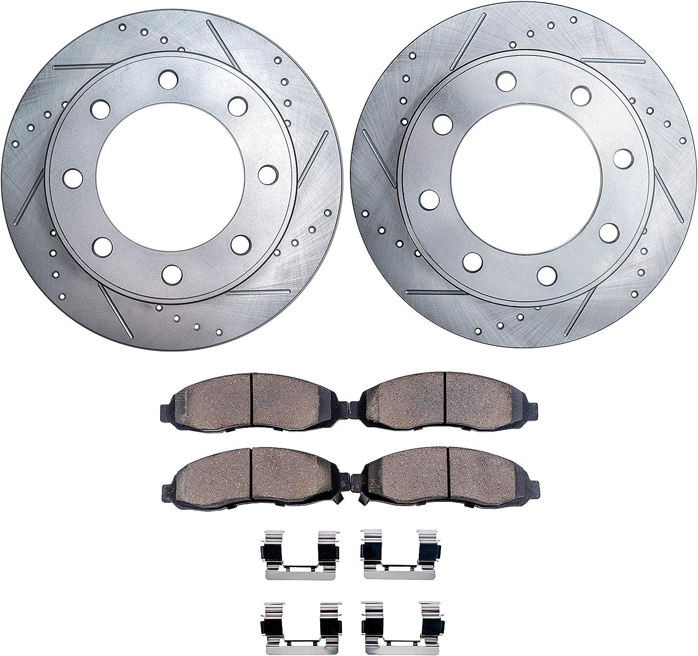 Front Drill Brake Rotors Metallic Pads Fit 94-96 Dodge Ram 2500 4WD 8800Lb GVW