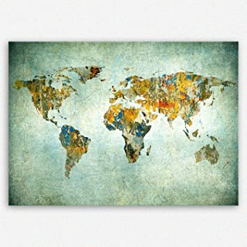 SENSATIONSPREIS Hochwertiges Leinwandbild   Weltkarte Retro   Weltkarte  Leinwand   30