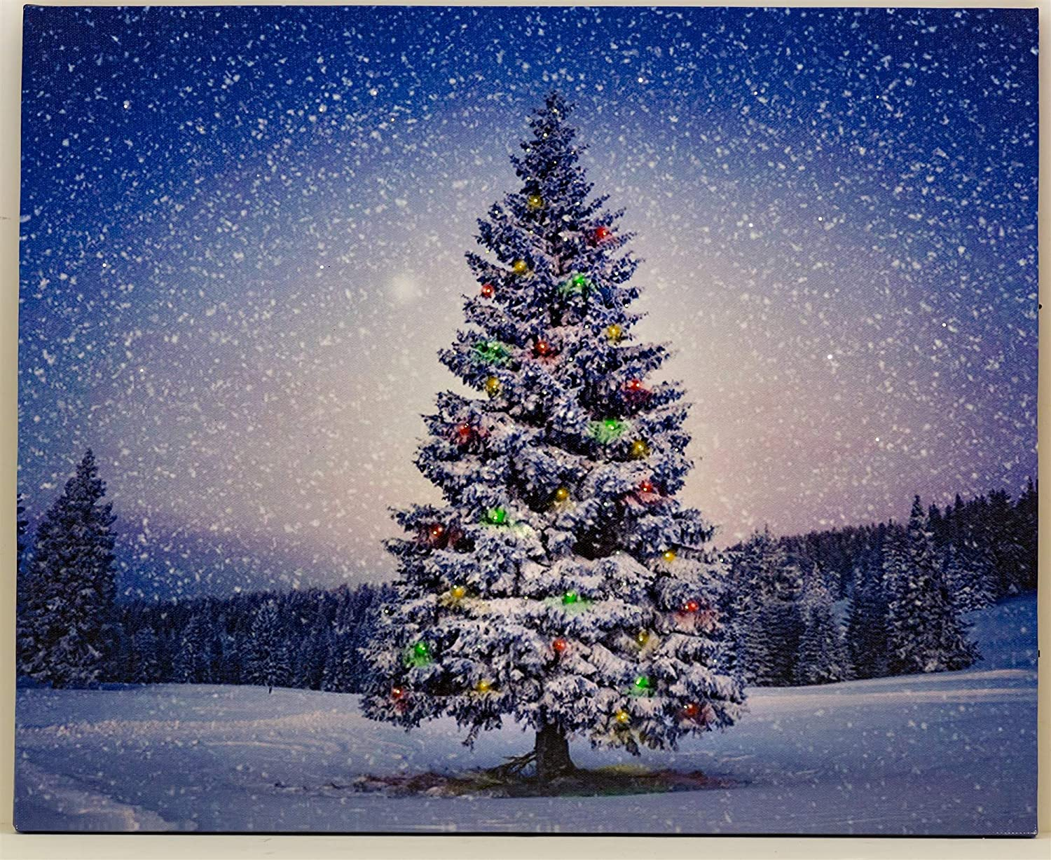 Amazon Com Oak Street Winter Christmas Tree Lighted Art 8 X6 Tabletop Canvas Light Up Picture 6 Hour Timer Kitchen Dining
