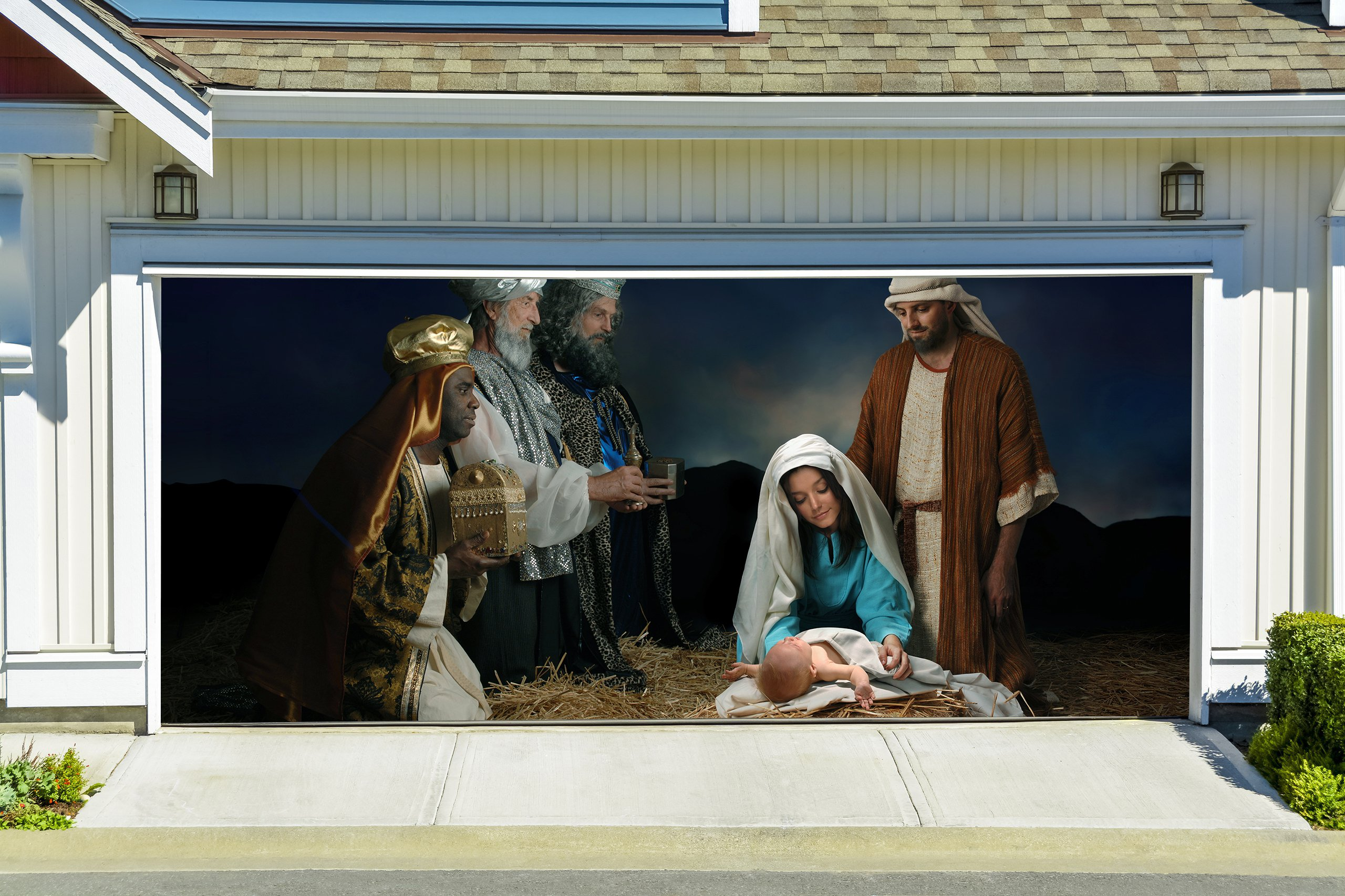Jesus 3D Effect Christmas Nativity Scene Banners for 2 Car Garage Door Covers Outdoor Full Color House Billboard Garage Door Holiday Christmas Holy Night Decor Murals size 82x188 inches DAV215