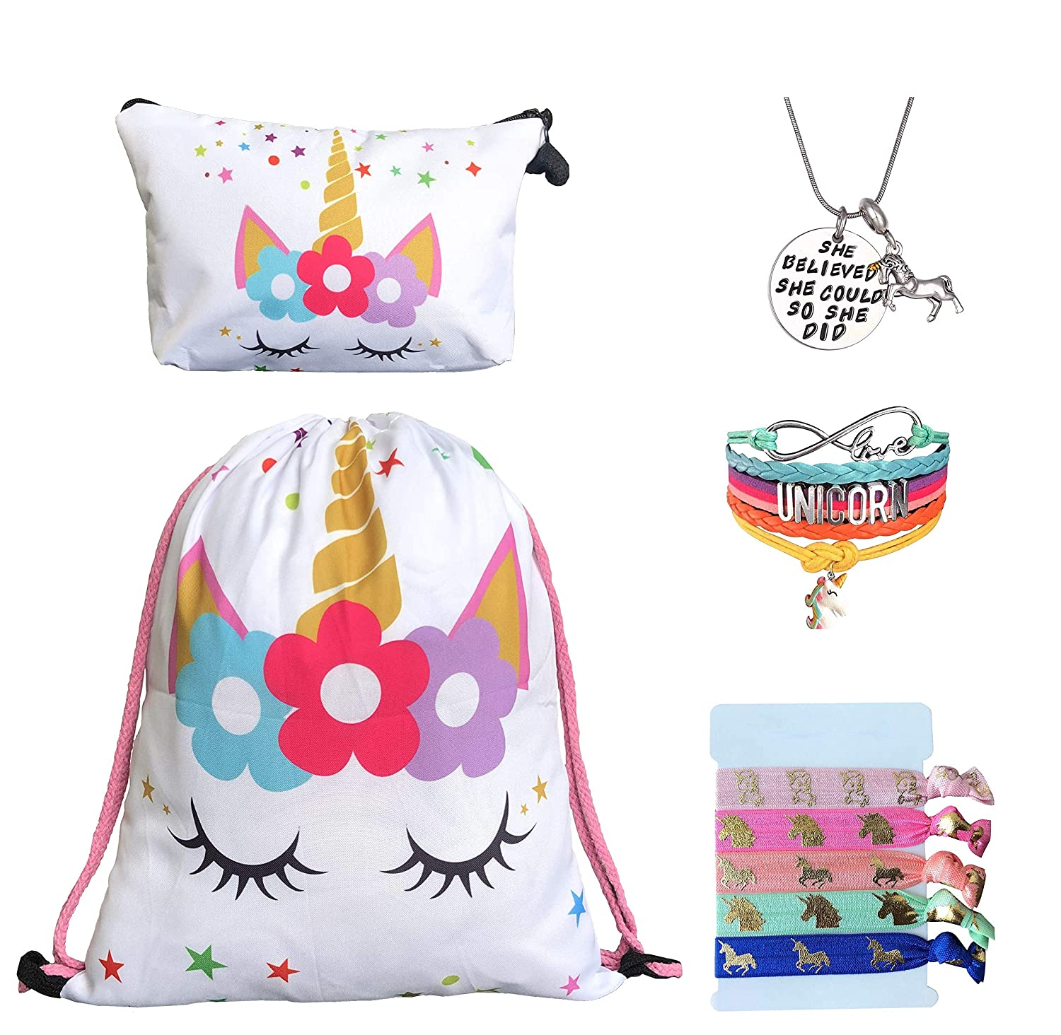 Unicorn Gifts for Girls - Unicorn Drawstring Backpack/Makeup Bag/Bracelet/Inspirational Necklace/Hair Ties (White Star Unicorn)