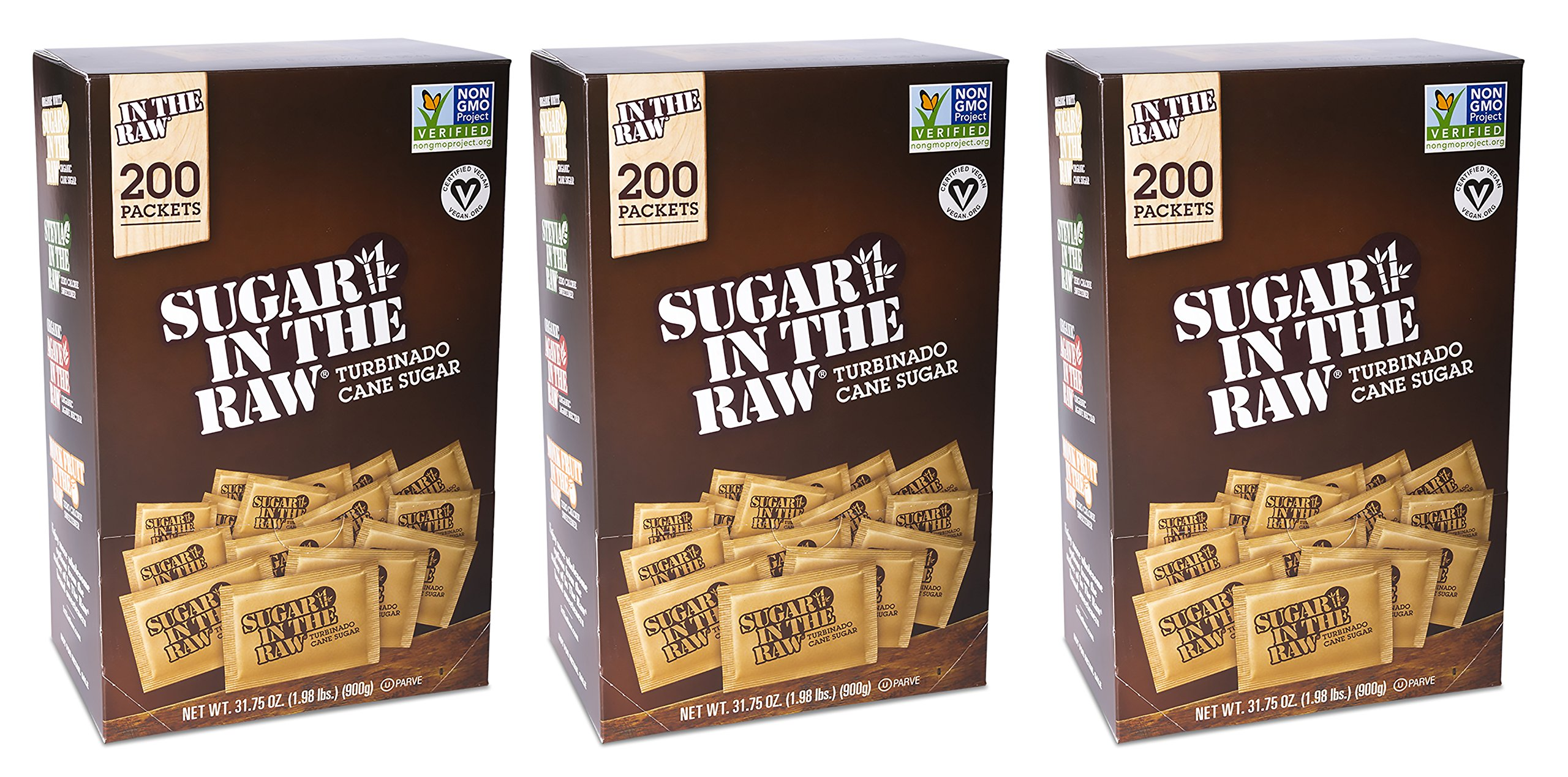 3-Pack Sugar In The Raw Turbinado Cane Sugar, Pack Contains 600-4.5g packets (3 Pack)