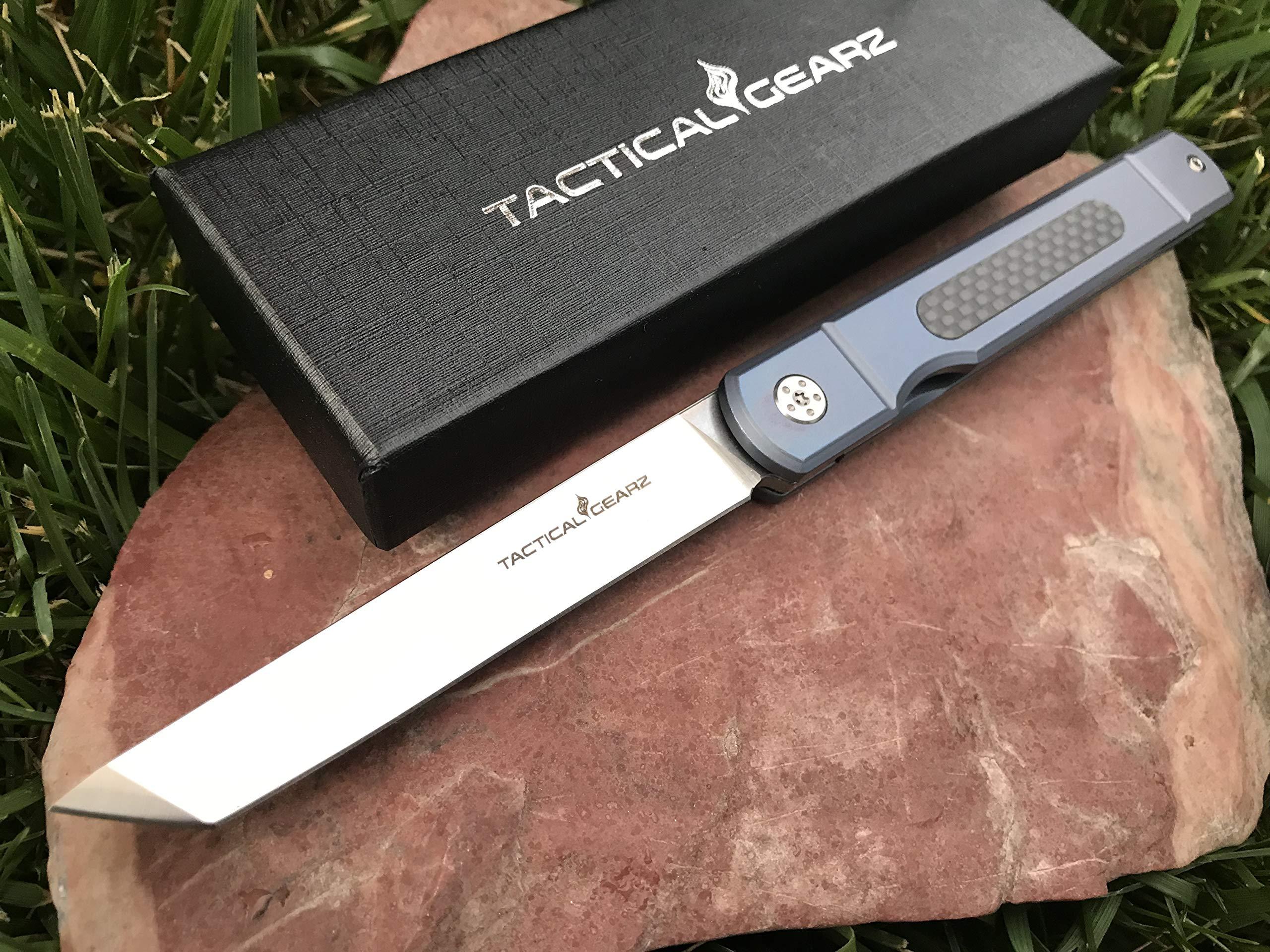 TG Tatsu, Tc4 Titanium/Carbon Fiber Japanese Style EDC Folding Knife w/Sheath! Polished D2 Steel Tanto Blade! Ball Bearing Pivot System! (Blue Pearl) by TacticalGearz