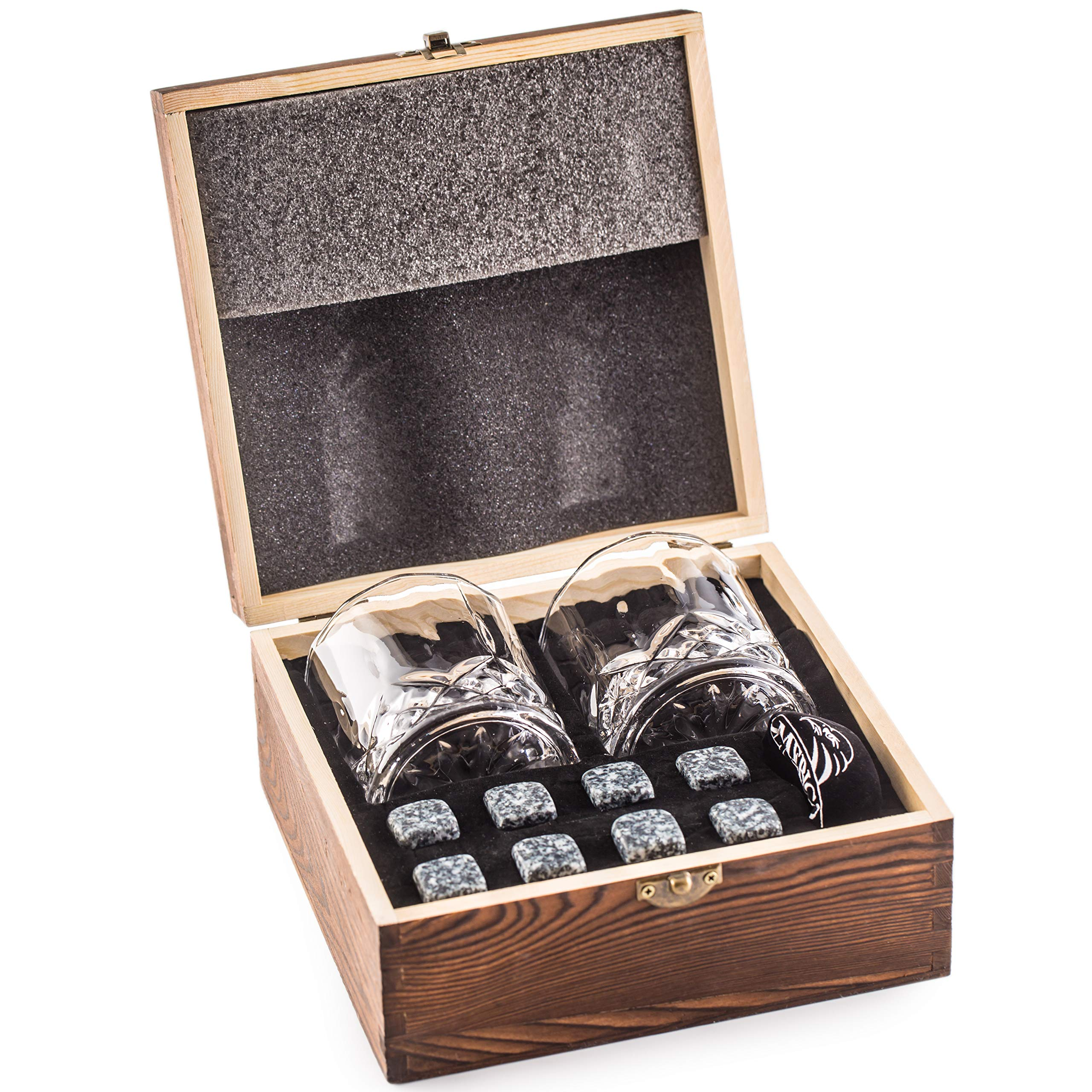 Impressive Whiskey Stones Gift Set with 2 Glasses - Be Different When Choosing a Gift - Luxury Handmade Box with 8 Granite Whisky Rocks & Velvet Bag - Ice Cubes Reusable - Best Man Gift by Amerigo