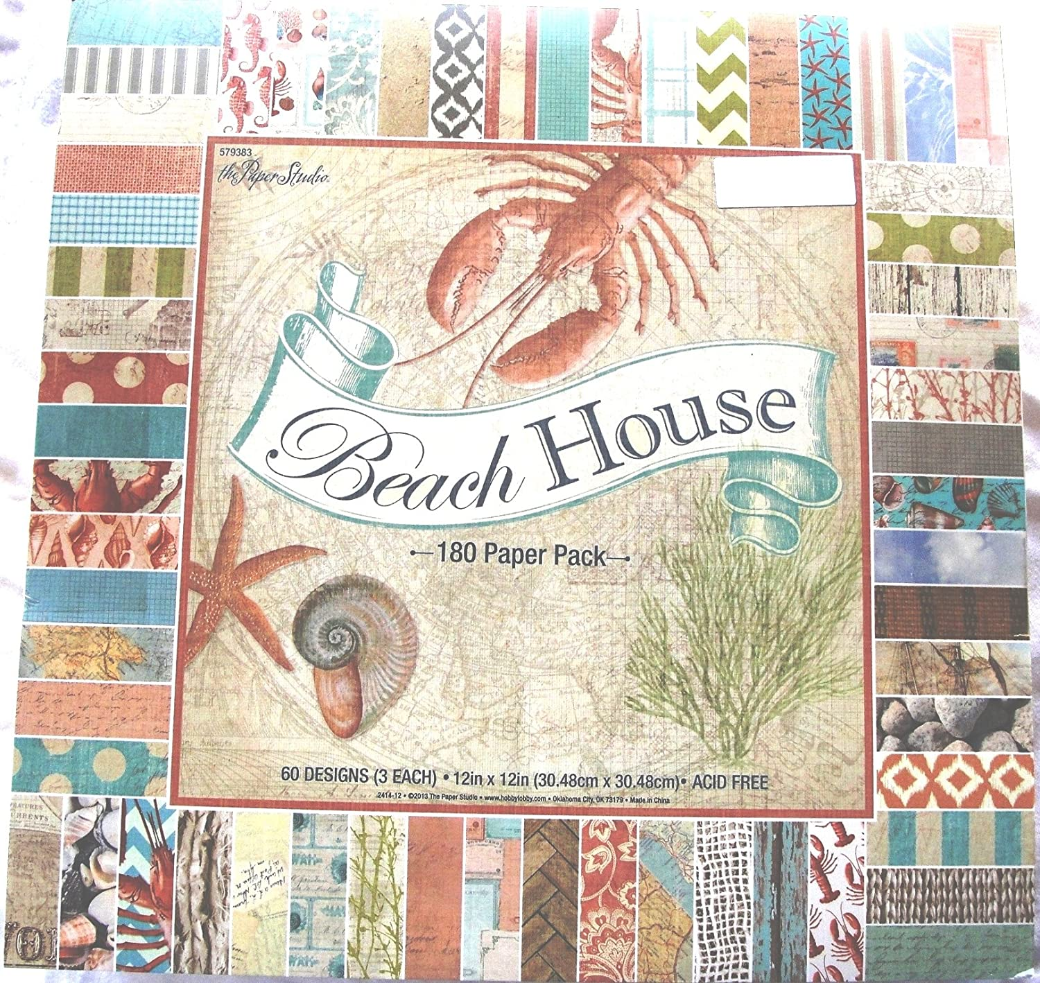 Beach House 12x12 Scrapbook Paper Pack, 180 sheets, the Paper Studio, Seahorses, coral reef, shells, conch, sand, coastal colors