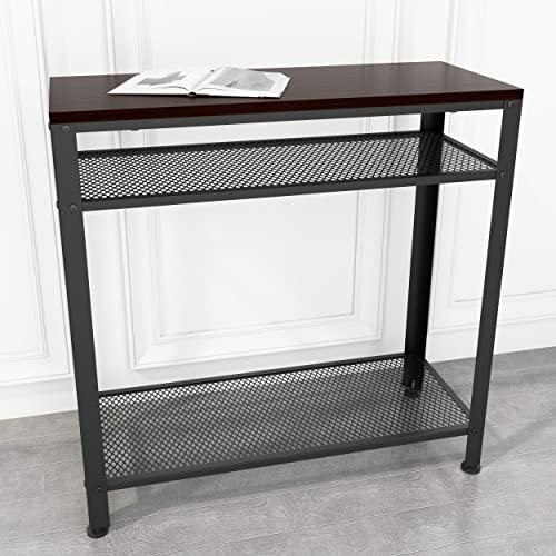 JOISCOPE Console Table, Industrial Sofa Table with Mesh Storage Shelves for Small Spaces, Narrow, Entryway, Foyer, Hallway Black Walnut Finish