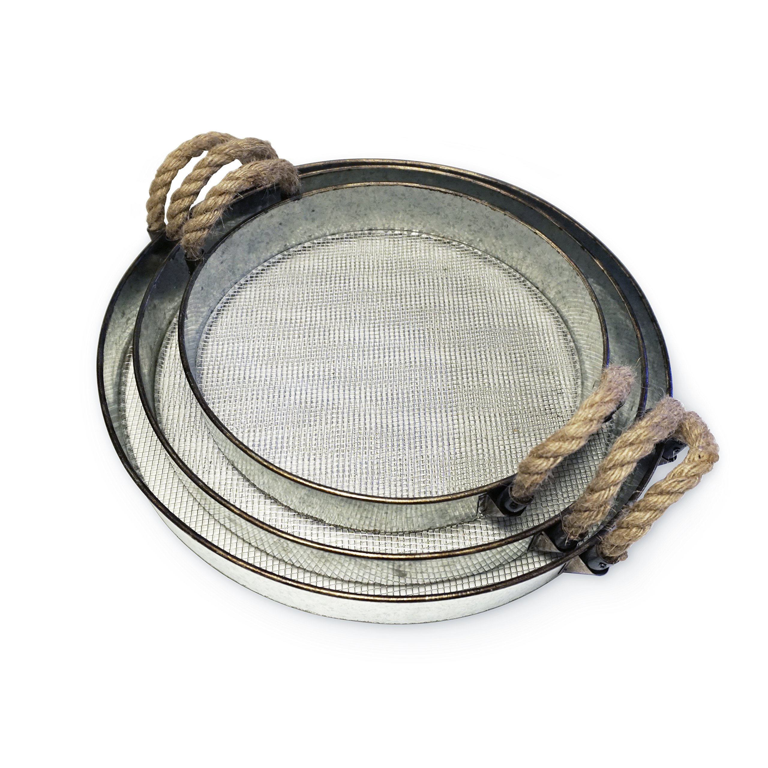 Round Metal Decorative Nesting Tray Set, Mesh Bottom with Rope Handles, Vintage Rustic Distressed Design, Serving Trays for Country Kitchen, Coffee Table, Set of 3