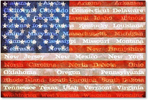 American Flag with States by Michelle Calkins, 22×32-Inch Canvas Wall Art