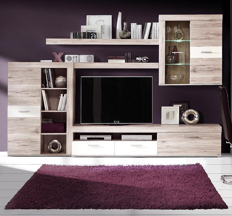 Homely Mueble de salón modular moderno TRAMA color roble y blanco mate de 300 cm