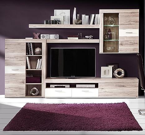 Homely - Mueble de salón Modular Moderno Trama Color Roble y ...