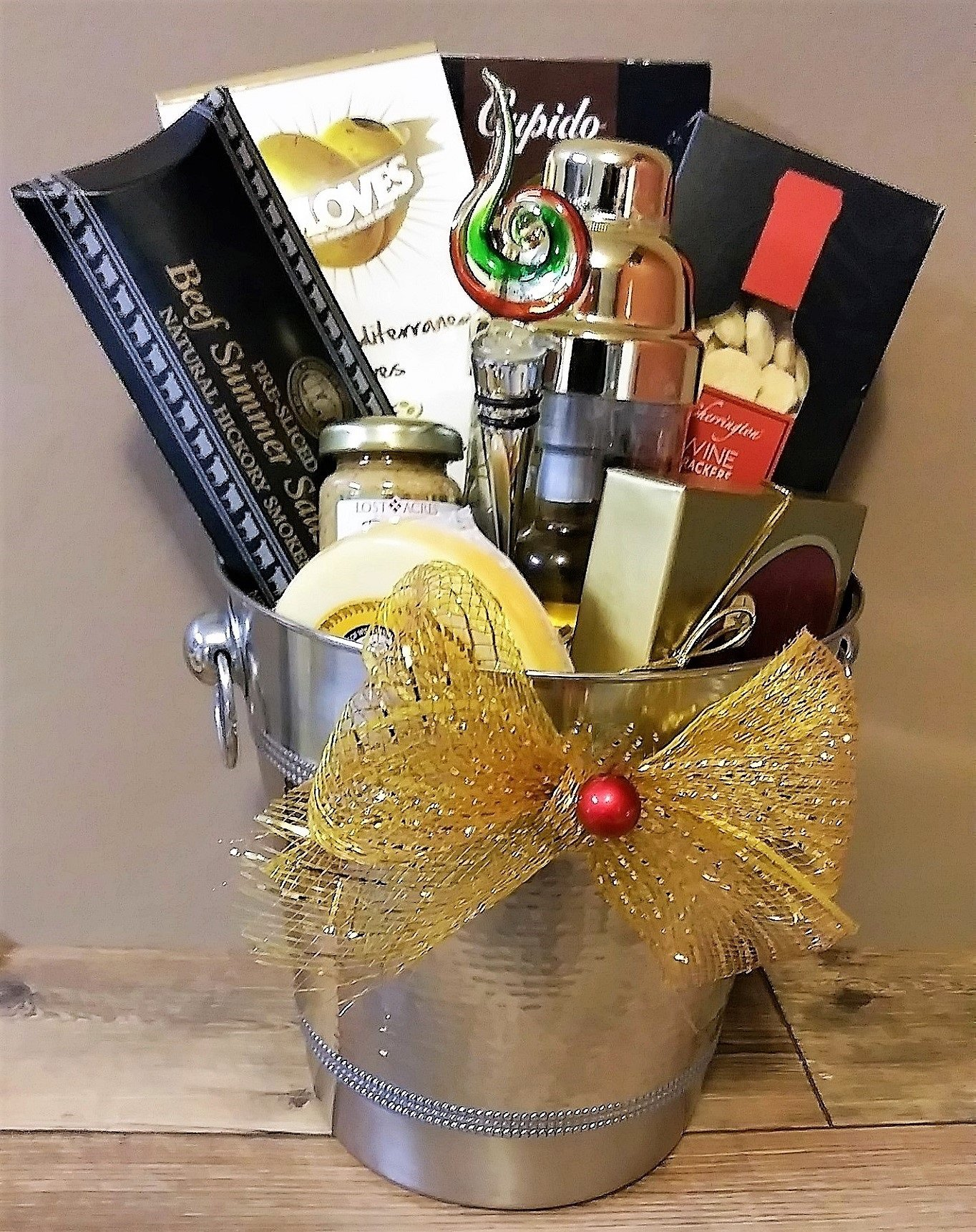 Spirit of the Season Ice Bucket with Cheese, Sausage and Chocolate
