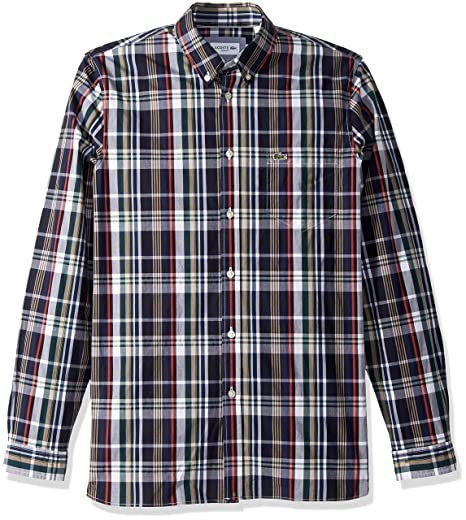 8f3faf7c97201c Lacoste Men s Long Sleeve Slim Fit Plaid Casual Button Down at ...
