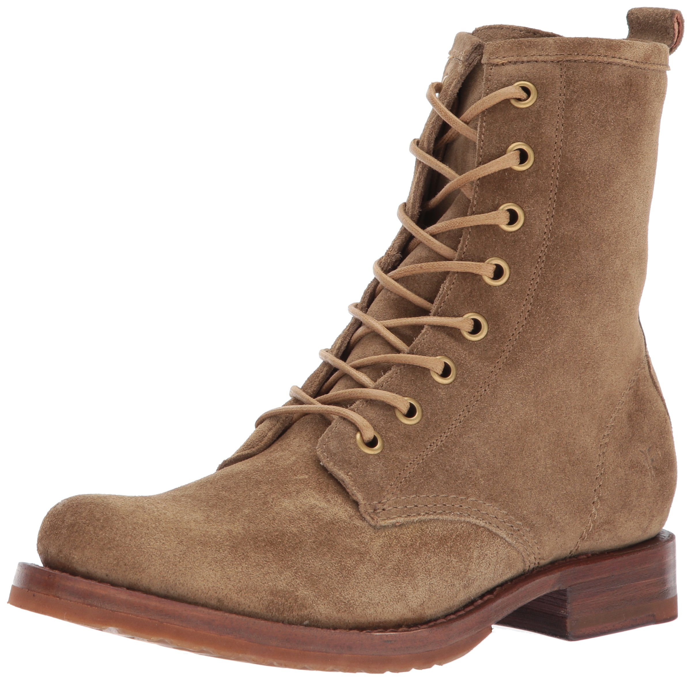 FRYE Women's Veronica Combat Boot, Cashew Soft Oiled Suede, 8 M US