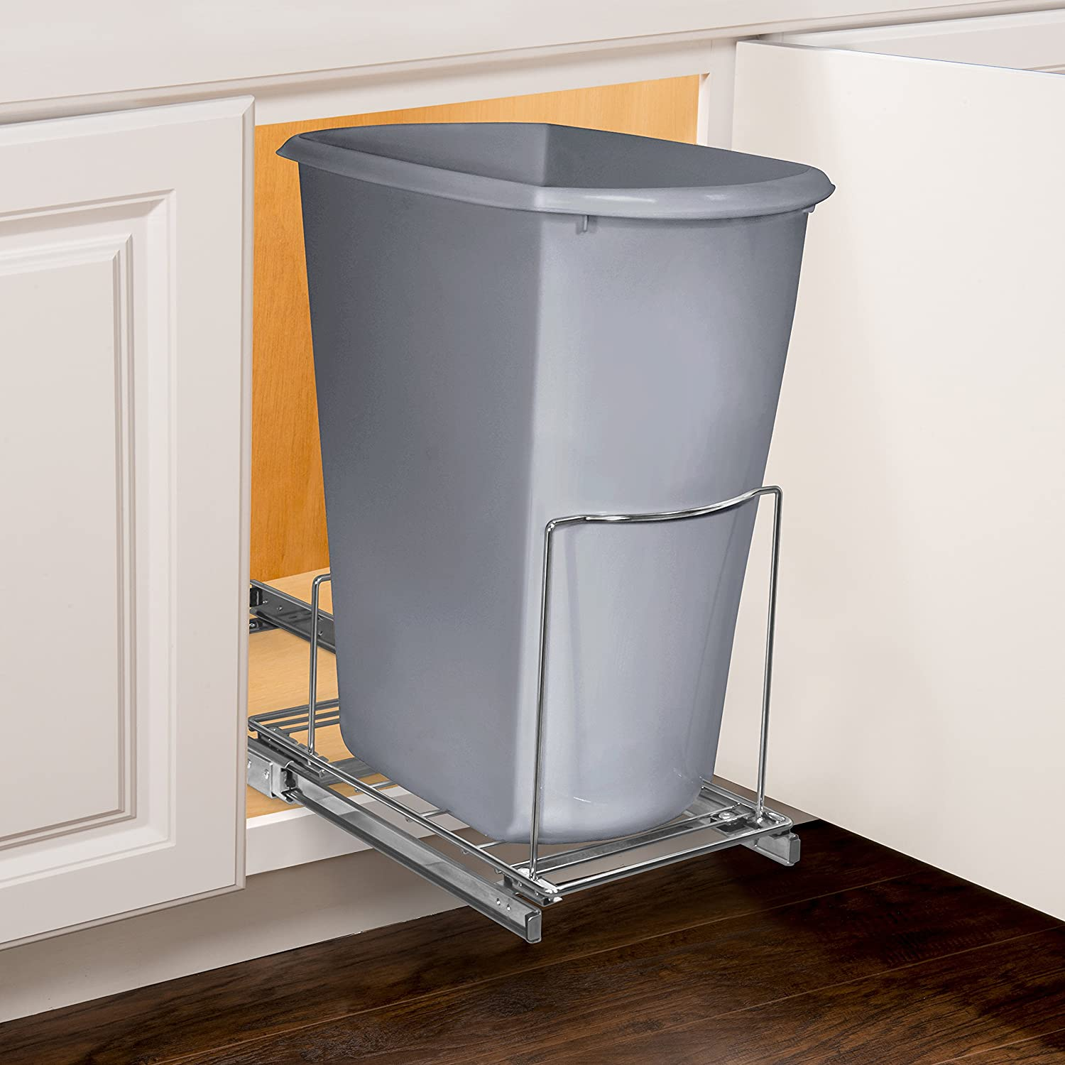 Lynk Professional Roll Out Bin Holder - Pull Out Under Cabinet Sliding Organizer - 10.1 inch wide x 20.02 inch deep - Chrome 430121DS