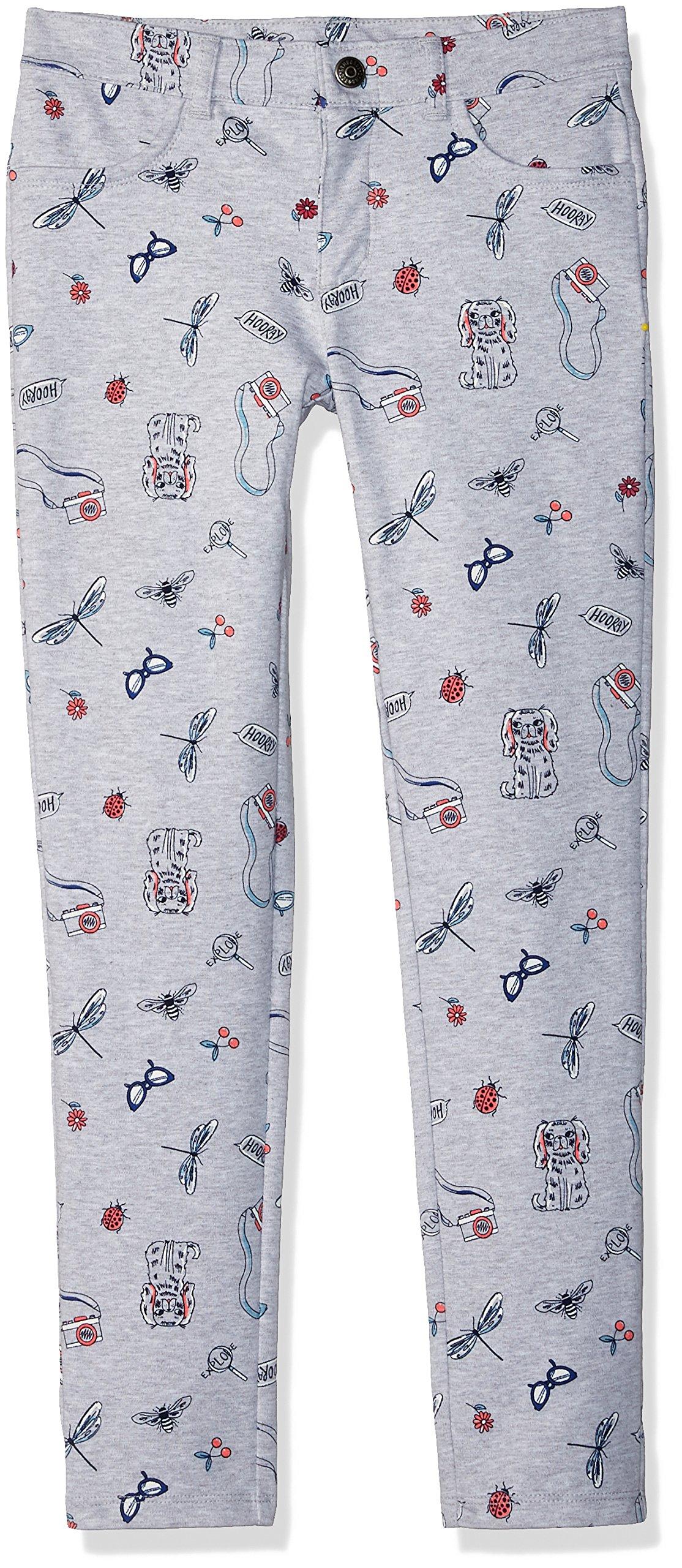 Gymboree Little Girls' Skinny 5-Pocket Knit Pant, Grey Doodle Print, 4