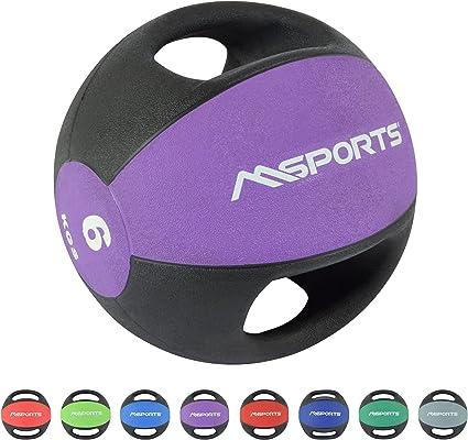 MSPORTS Balón Medicinal Premium con Asas 1 – 10 kg – Calidad de ...