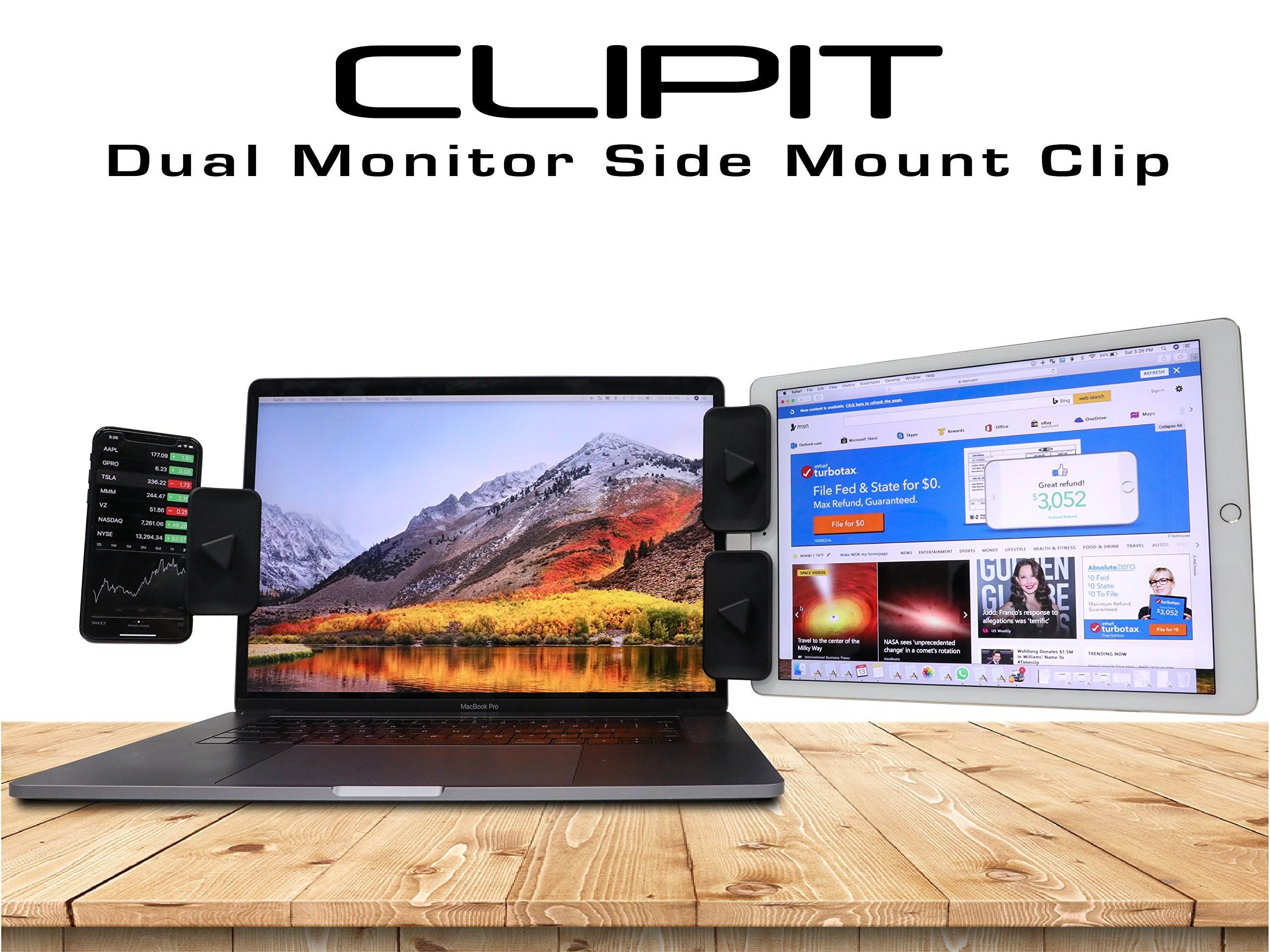 CLIPIT Side Mount Clip by AXTION | iPad Holder and Tablet Stand, Dual Monitor Mount Experience iPad Stand, Cell Phone Mount or Tablet Mount for Your Laptop, Instant Second Display by AXTION
