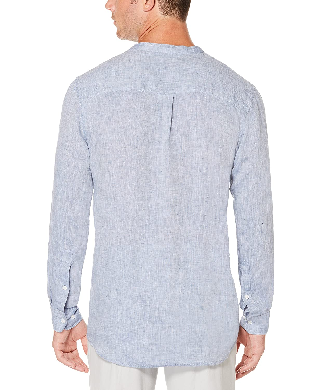 d9f8505c420b Perry Ellis Men's Long-Sleeve Solid Linen Cotton Popover Shirt: Amazon.in:  Clothing & Accessories