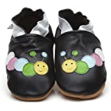 Soft Leather Baby Shoes Caterpillar Black 6-12 months
