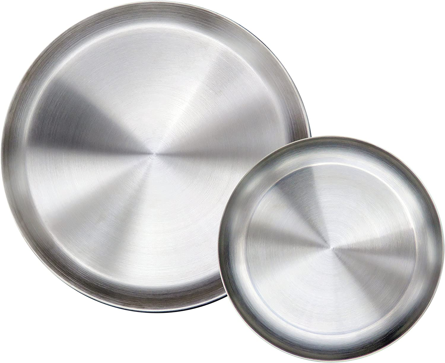 Immokaz Matte Polished 6.7 inch 304 Stainless Steel Round Plates Dish Set, for Dinner, Camping, Outdoor, Baby safe, Toddler, Kids, BPA Free, Pack of 2 (S)