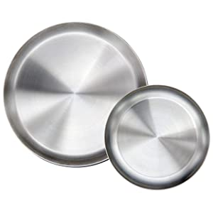 Immokaz Matte Polished 9.0 inch 304 Stainless Steel Round Plates Dish Set, for Dinner Plate, Camping Outdoor Plate, BPA Free, Pack of 2 (M)