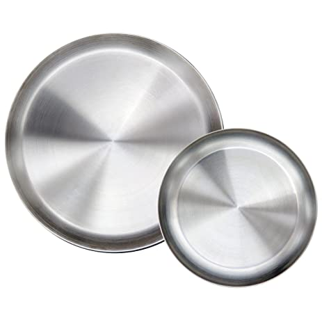 Immokaz Matte Polished 90 Inch 304 Stainless Steel Round Plates Dish Set For Dinner Plate