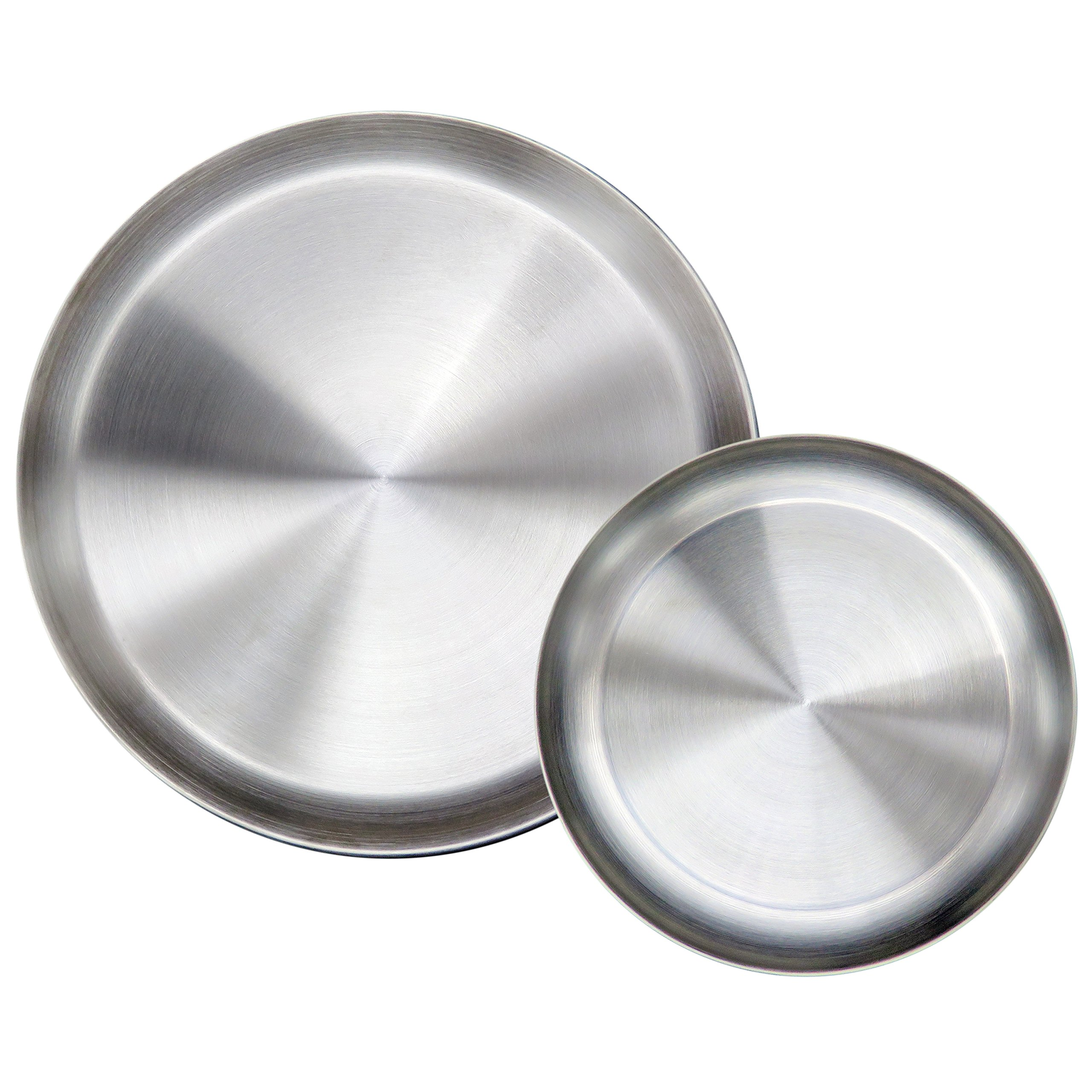 Immokaz Matte Polished 6.7 inch 304 Stainless Steel Round Plates Dish Set, for Dinner Plate, Camping Outdoor Plate, BPA Free, Pack of 2 (S)