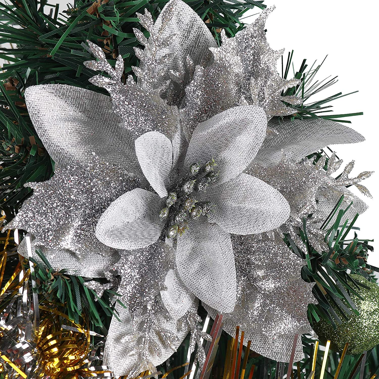 RECUTMS 10 Pieces Christmas Glitter Artificial Poinsettia Flowers Artificial Wedding Flowers Decorations Xmas Tree Ornaments 6-inch Decor Wreath Garland Holiday(Silver)