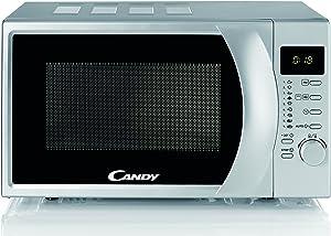 Candy CMG 2071 DS Microondas con grill, Capacidad 20L, Display digital, 9 Programas Automáticos, Plato giratorio 24,5cm, 700W-900W, 700 W, 20 litros, Silver