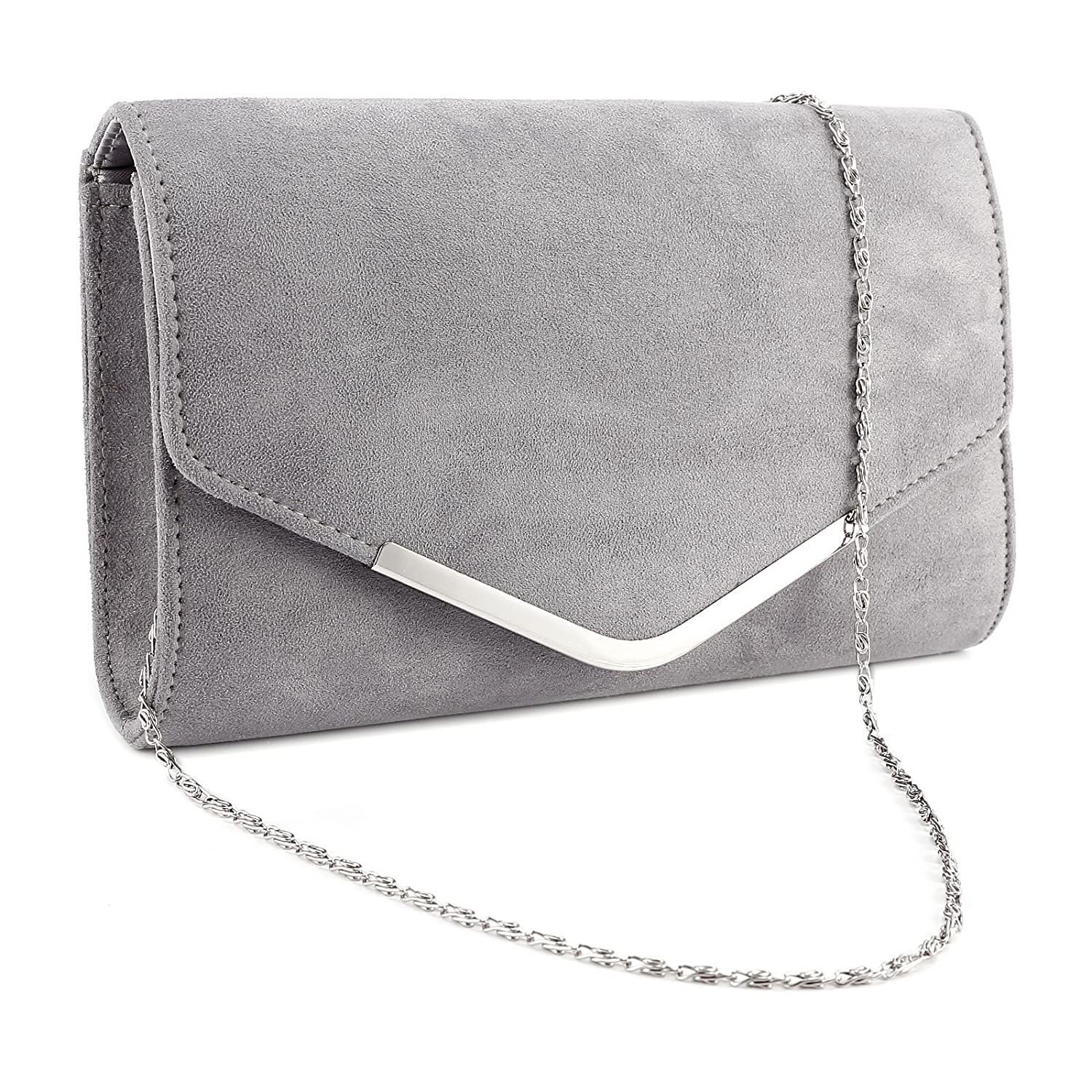 Anladia Velvet Curved Envelope Clutch Flap Structured Bag Topped V Bar Women Carry Purse