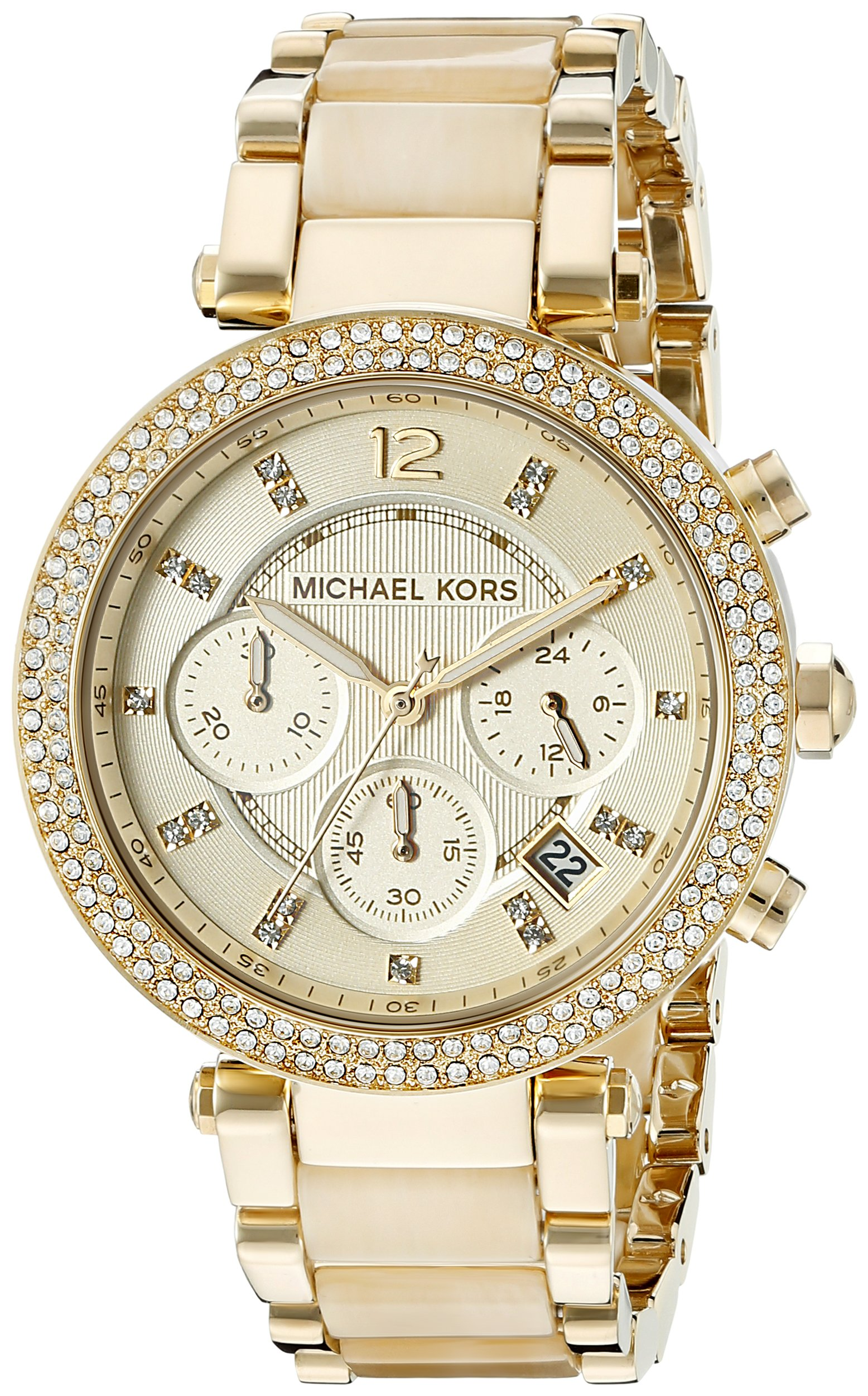 Michael Kors MK5632 Women's Parker Analog Display Chronograph Quartz Watch, Gold Stainless Steel and Horn Acetate Band, Round 39mm Case