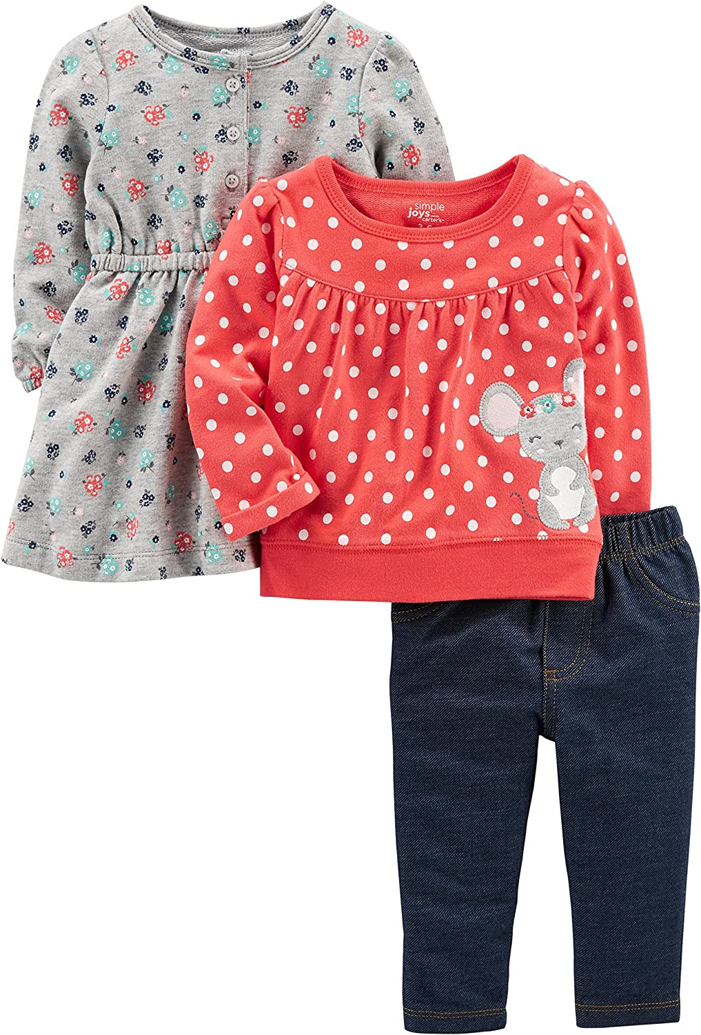 Dress Simple Joys by Carters Baby Girls 3-Piece Long-Sleeve Top and Pants Playwear Set