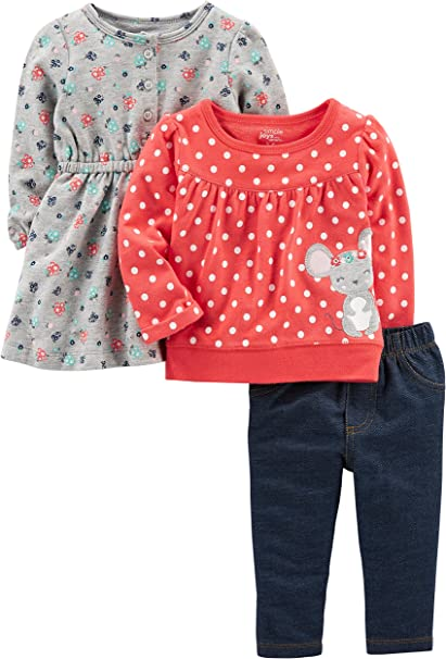 2T Simple Joys by Carters Girls Toddler 4-Piece Long-Sleeve Shirts and Pants Playwear Set Olive//Pink Dino