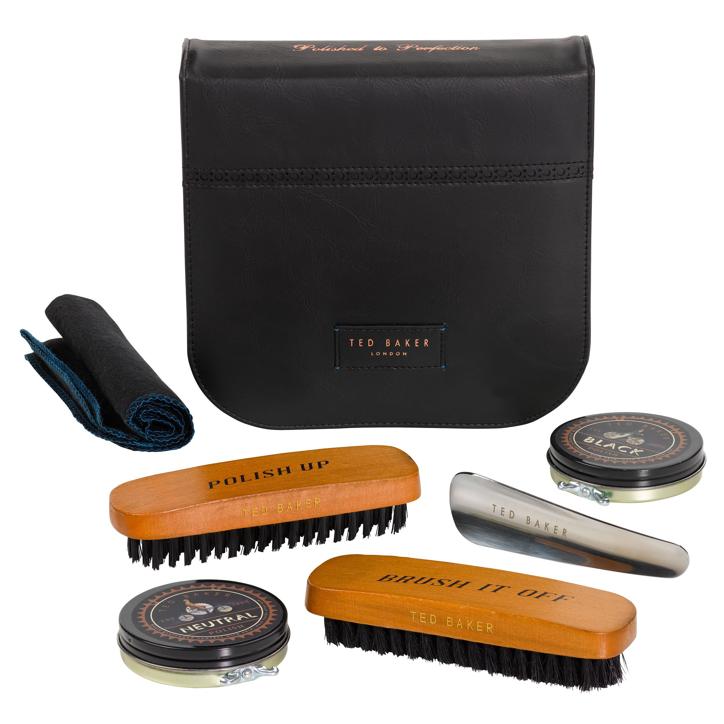 Ted Baker Shoe Shine Kit With Case, 5 Piece, Black