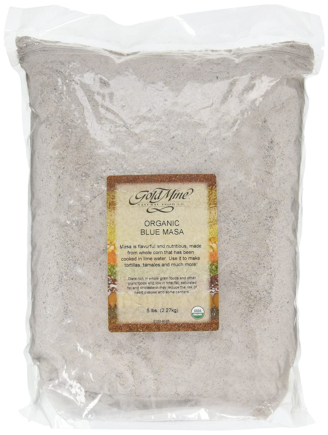 Gold Mine Blue Corn Masa Harina - USDA Organic - Macrobiotic, Vegan, Kosher and Gluten-Free Flour for Healthy Mexican Dishes - 5 LBS