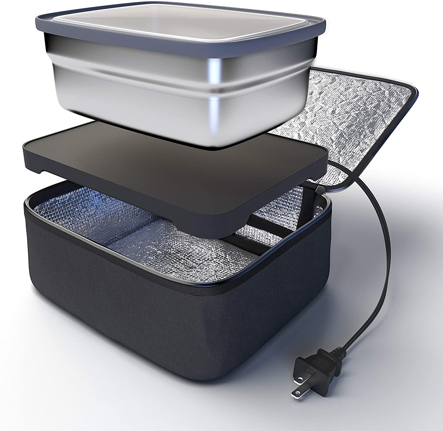 Skywin Portable Oven and Lunch Warmer Bag - Personal Food Warmer for reheating meals at work without an office microwave (Black, No Container)