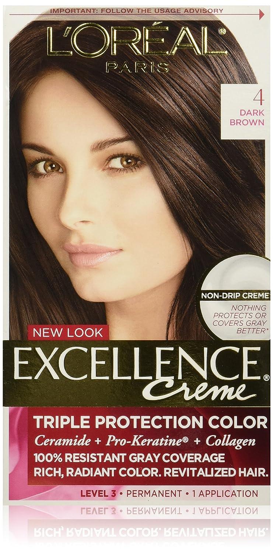 L\'Oréal Paris Excellence Créme Permanent Hair Color, 4 Dark Brown ...